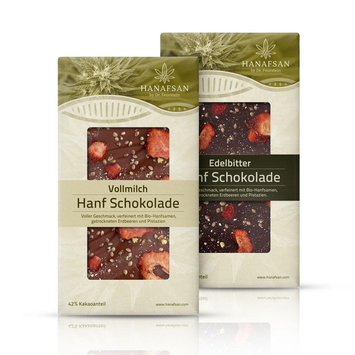 Hanafsan Hanf Schokolade Vollmilch und Edelbitter