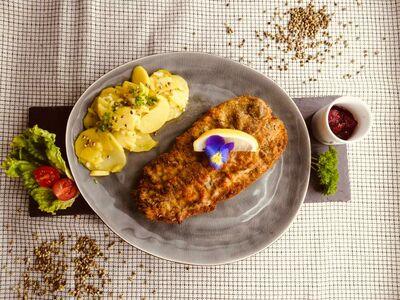 Hanf Schnitzel mit Kartoffelsalat HANAFSAN